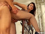 Alluring girl in fishnet bodystocking and her chubby girlfriend thoroughly serve males' devices