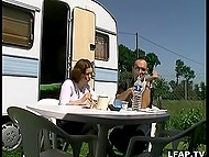Young French couple lives in trailer and practices anal sex on green lawn after breakfast 4