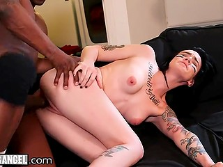 Black lovelace gladly shoves his huge dick into tattooed brunette's tight vagina