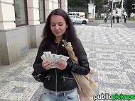 Young slut earns a lot of money sucking and riding fake agent's cock in the street
