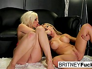 Blonde cougars with awesome boobs have hot lesbian encounter on black couch 11
