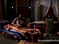 Queen gets maximum pleasure from erotic massage and keeps her feet on naked servant