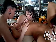 Four excited dark-haired bitches from Germany fall into lesbian craziness together 8