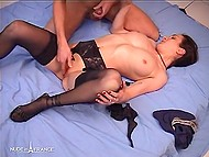 Pale-skinned French in black stockings gave blowjob and laid on bed to enjoy pussy stimulation 11
