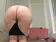 Sexy BBW housemaid interrupts ironing to demonstrate her great curves and hairy twat 4