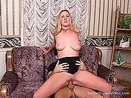 Busty hottie arouses her cunny with vibrator before lucky dude will fuck her like a whore 5