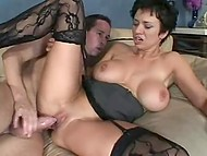 Finnish MILF with giant boobs chooses right moment to seduce her best friend's stepson