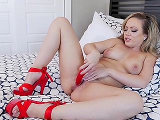 Hot to trot female speaks with imaginary fucker satisfying her juicy pussy with dildo