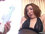 Mature businessman puts Japanese lover's pussy on sex device and gives her cock for sucking 5