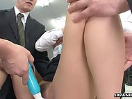 Office workers successfully make Japanese secretary squirt while she speaks on phone 8