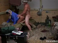 It's easy for American trooper to take harmless Arab girl's pussy from behind in barracks 6