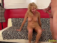Mature woman with light hair has sex with man and becomes really happy when he cums on her neck 10