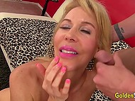 Mature woman with light hair has sex with man and becomes really happy when he cums on her neck 11
