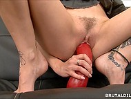 White dildo is so big that it doesn't fit in mouth of young hottie that is why she saddles red one 6