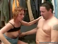Mature woman gives man blowjob before he fingers pussy and fucks her in changing room 10