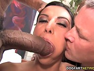 Male supervises his eye-catching wife spending great time with big black cock