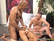 Male supervises his eye-catching wife spending great time with big black cock 9