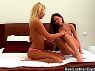 Blonde babe together with fragile girlfriend gave each other cunnilingus and fingering 3