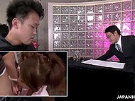 Young hotties from Japan try their best staying on knees and competing in sucking hard cocks 7