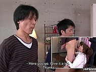 Young hotties from Japan try their best staying on knees and competing in sucking hard cocks 8