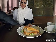 Owner of small bar gives some food to Arab refugee for the possibility to touch her rosy sissy 9