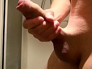 Lonely man shaves his balls in shower and goes to jerk cock off in front of camera 4
