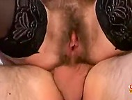 Mature woman with unshaven pubis and armpits presents these hairy goodies to cavalier 6