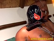 Black bitches suck cock of man in latex mask in turn and don't forget to flog him 11