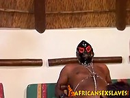 Black bitches suck cock of man in latex mask in turn and don't forget to flog him 8