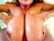 Asian MILF Kianna Dior wants partner to oil huge knockers before blowjob and tittyfucking 11
