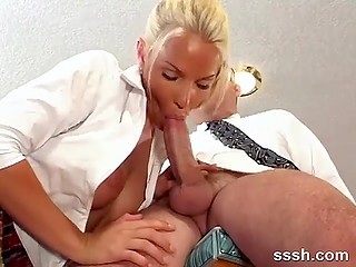 In kitchen young cutie with beautiful boobs gives mature man amazing blowjob