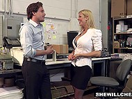 Unsatisfied boss Alexis Fawx forces new attractive employee to please all her sexual needs 4