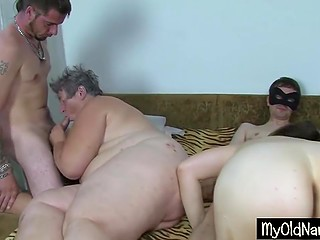 Fat old woman from Bulgaria goes foursome with young slut and her perverted comrades
