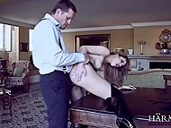 Nobleman dreams of fucking Portuguese girlfriend's tight holes instead of pretentious dinner