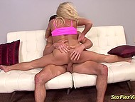 Flexible blonde with great boobs and her inamorato make love in hottest positions