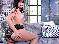 Brunette talks too much showing how easy it is to make pussy wet with vibrator 4