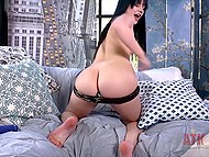 Brunette talks too much showing how easy it is to make pussy wet with vibrator 5