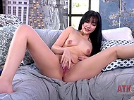 Brunette talks too much showing how easy it is to make pussy wet with vibrator 6