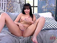 Brunette talks too much showing how easy it is to make pussy wet with vibrator 7