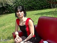 Slim French brunette in stockings gladly flashes small tits and nice ass outdoors 11