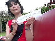 Slim French brunette in stockings gladly flashes small tits and nice ass outdoors 5