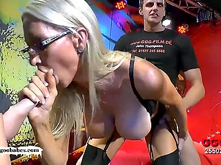 There were enough guys to satisfy greedy for cum German MILF with massive boobs