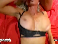 There were enough guys to satisfy greedy for cum German MILF with massive boobs 8