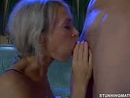 Big-tittied MILF from Russia puts lustful pussy on youngster's thing when others fall asleep 4