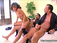 Two gangsters are playing with horny Asian woman who adores having sex with different guys
