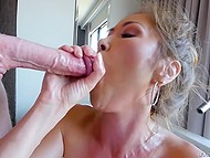 Lascivious Asian stepmother prepared champagne in bath for a chance to suck stepson's fat cock 9