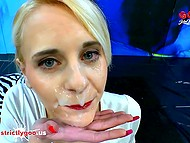 Adorable Ashlee Cox drinks a glass of water before crowd of guys will fuck her in all holes 3