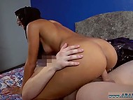 Tanned Arab girl looks for place for living and gives her tight pussy to hotel owner 9