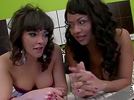 Slutty Spanish with curly hair and in black stockings was diligently served by energetic man 3