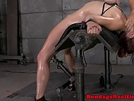 Neighbors may think repair work goes in basement but actually this is sex machine drilling slave's pussy 4